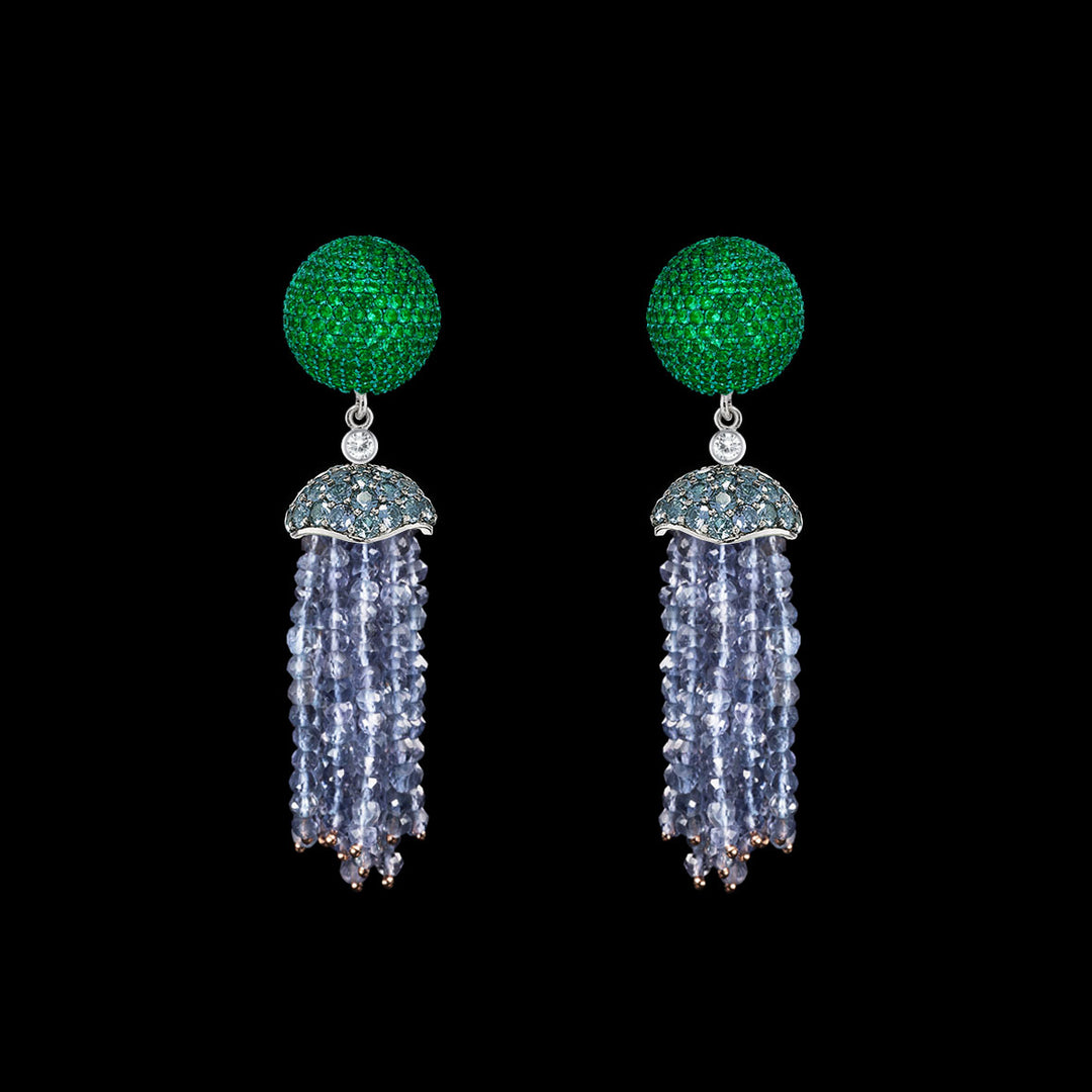 Emerald Bauble Tassel Earrings
