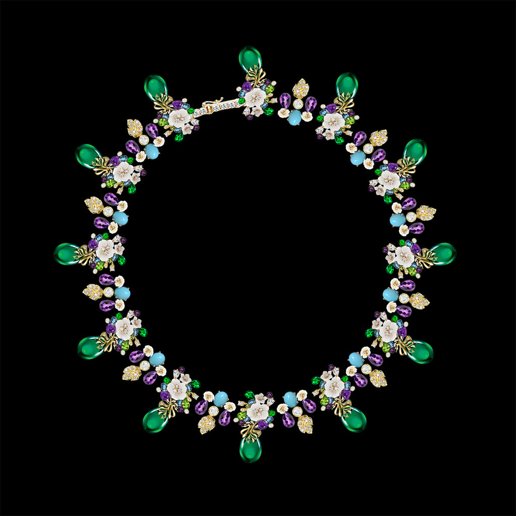 Emerald Amethyst Palm Paradise Necklace