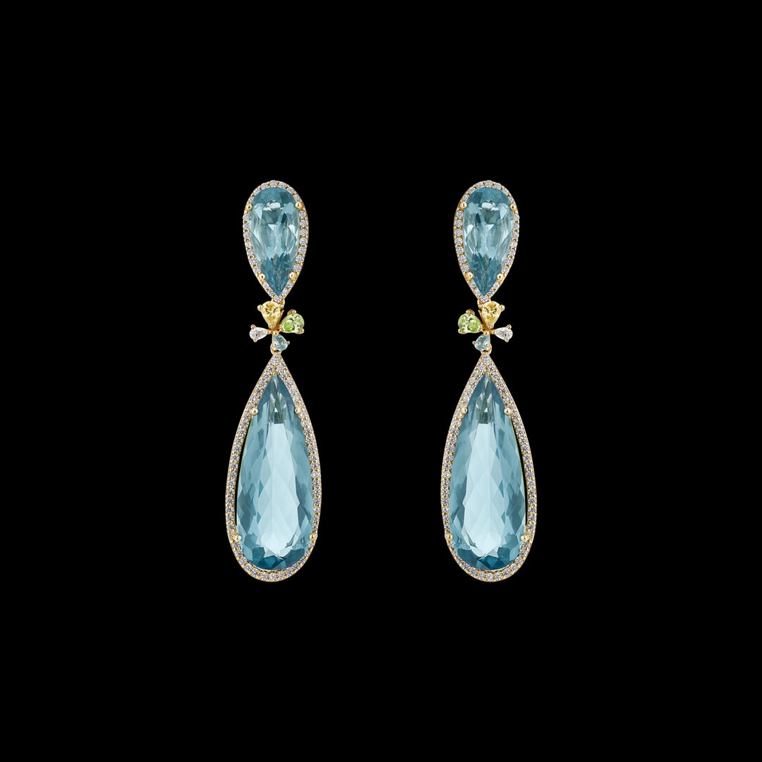 Mini Aqua Papillon Earrings