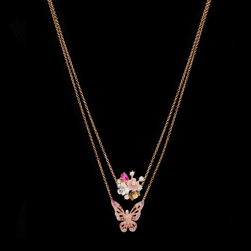 Rose Butterfly Charm Necklace