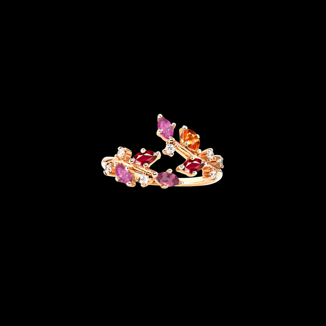Ruby Sunset Ivy Ring