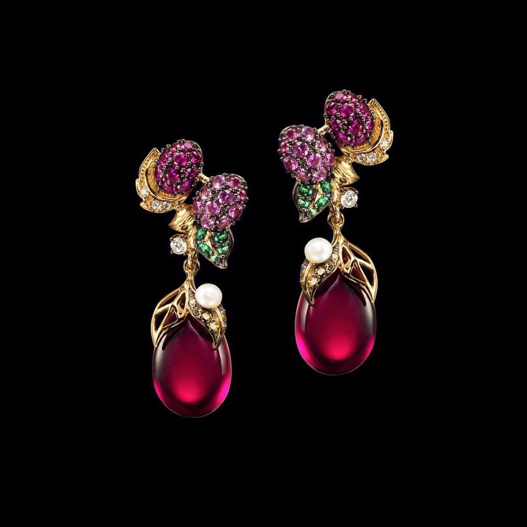 Raspberry Drop Earrings
