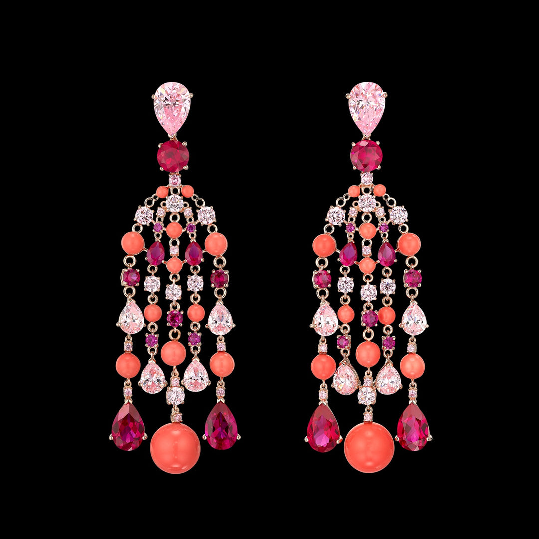 Coral Raindrop Earrings
