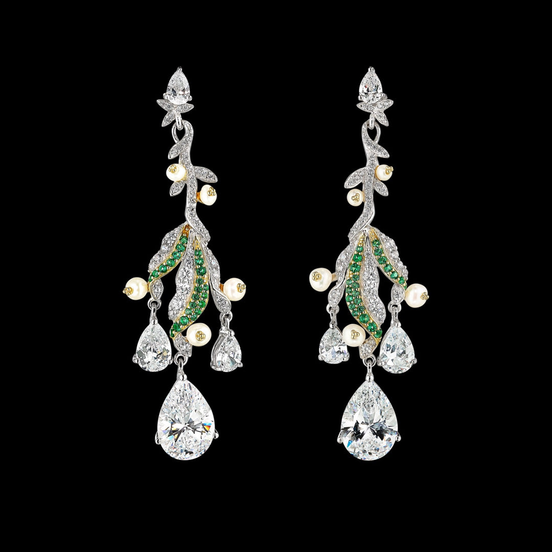 Diamond Lily of the Valley Earrings