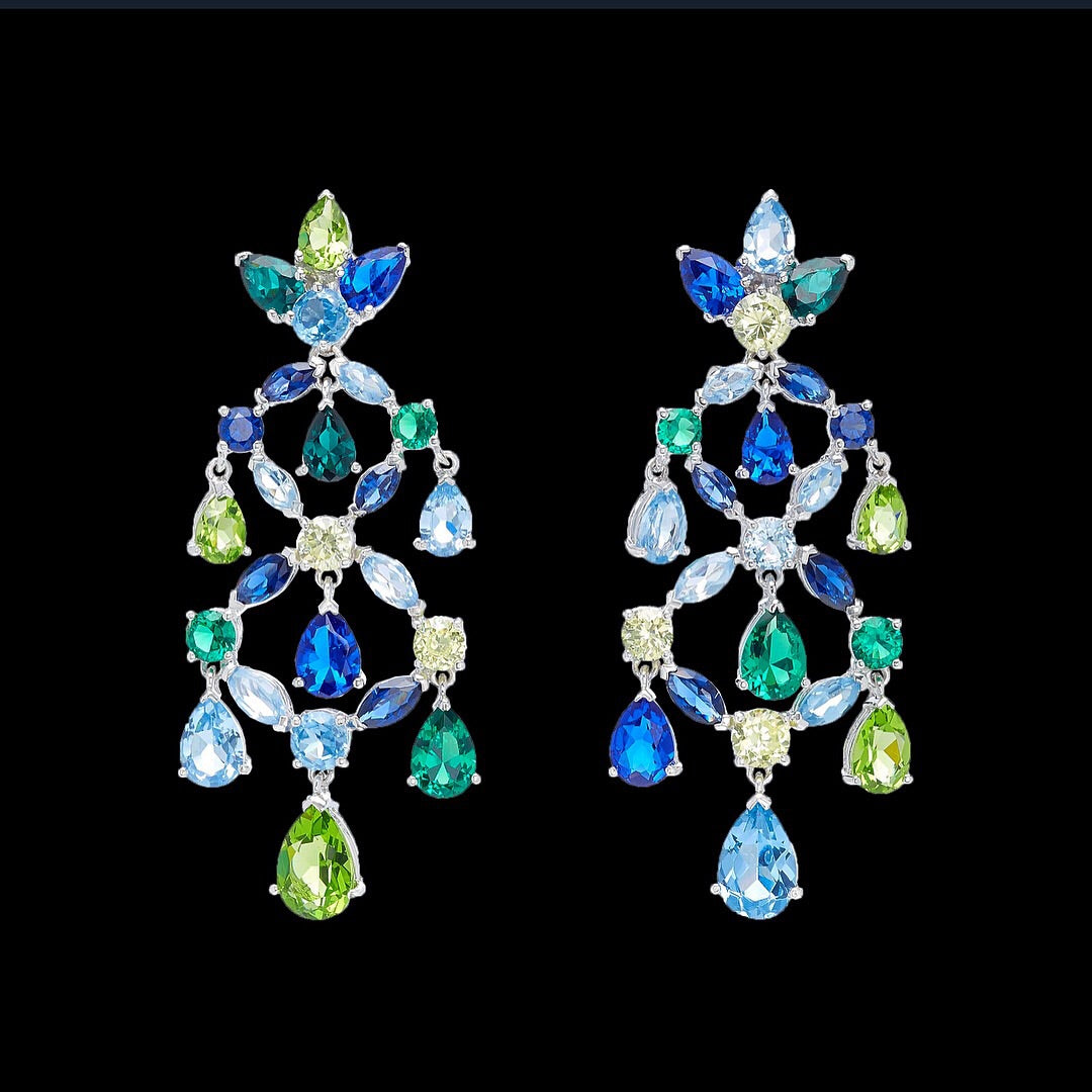 Emerald Sapphire Chandelier Earrings