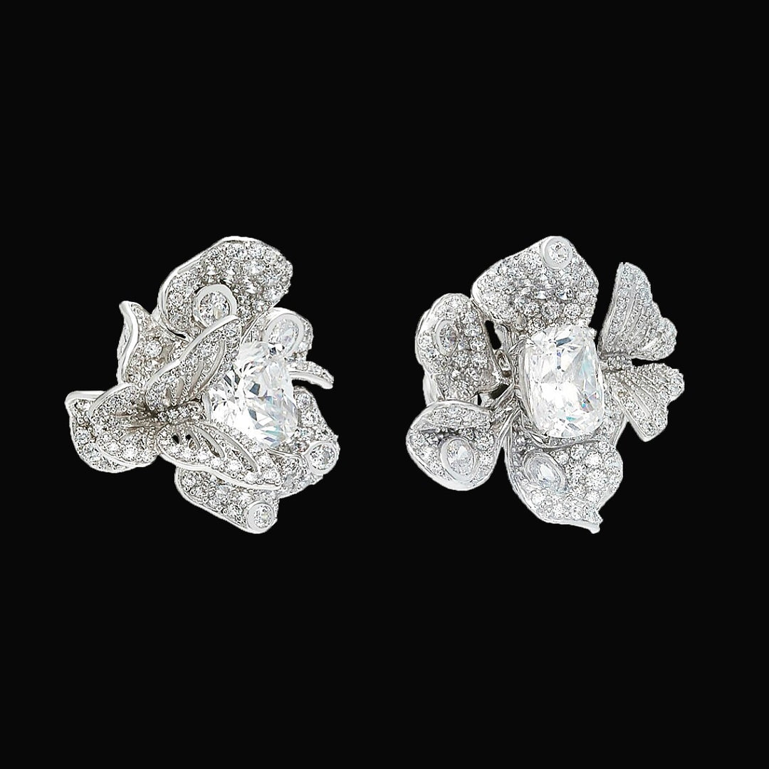 Diamond Peony Earrings