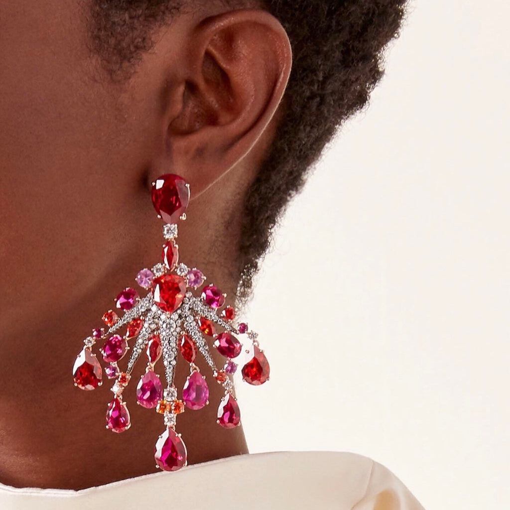 Ruby Sunset Starburst Earrings