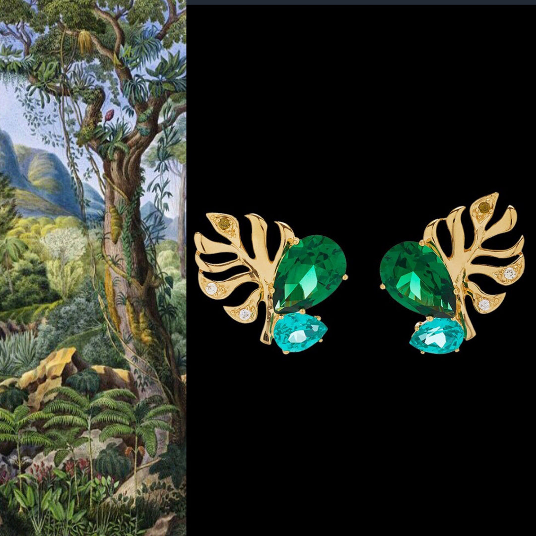Emerald Palm Ear Studs