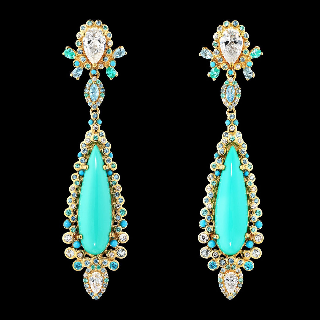 Turquoise Tigerlily Earrings