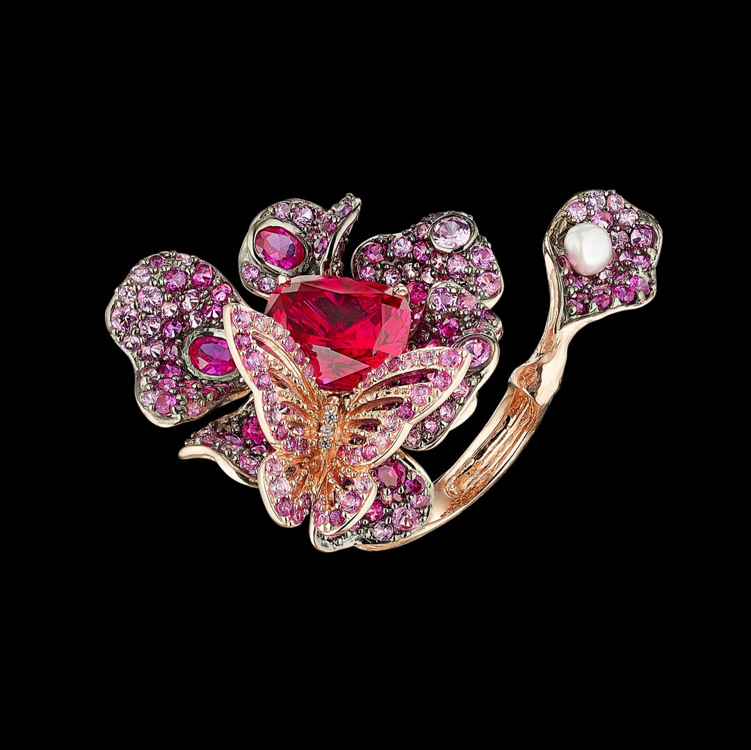 Ruby Peony Butterfly Ring