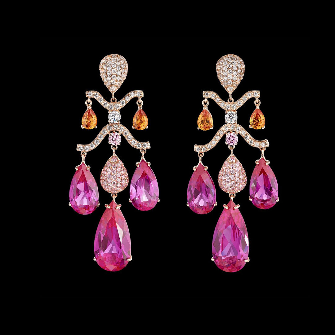 Fuchsia Sapphire Chandelier Earrings