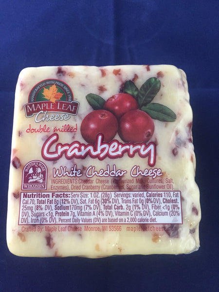 Cranberry Cheddar 1/2 pound block