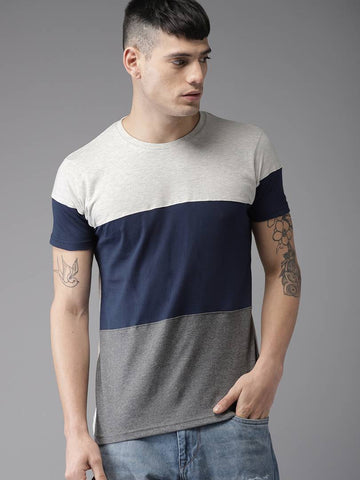 Multicoloured Colourblocked Cotton Half Sleeves T-Shirt