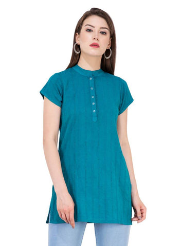 Women's Rayon Turquoise Embroidered Top