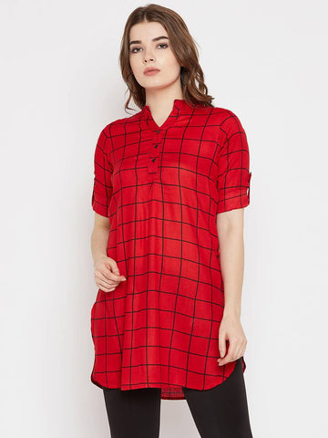 Red Checked Viscose Rayon Top