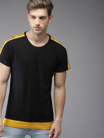 Black Solid Cotton Blend Tees for Men