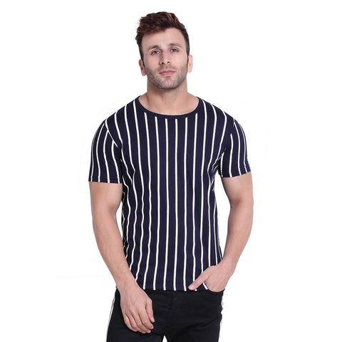 Men's Navy Blue Striped Cotton Blend Round Neck Tees