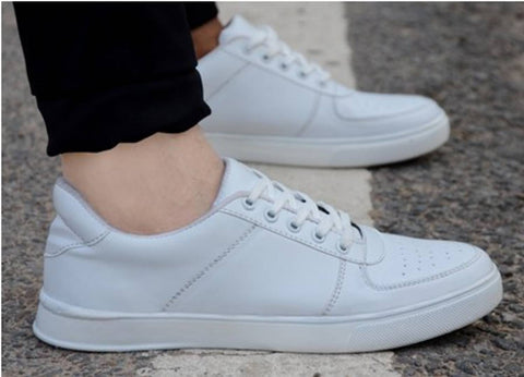 Men's White Synthetic Leather Solid Sneakers