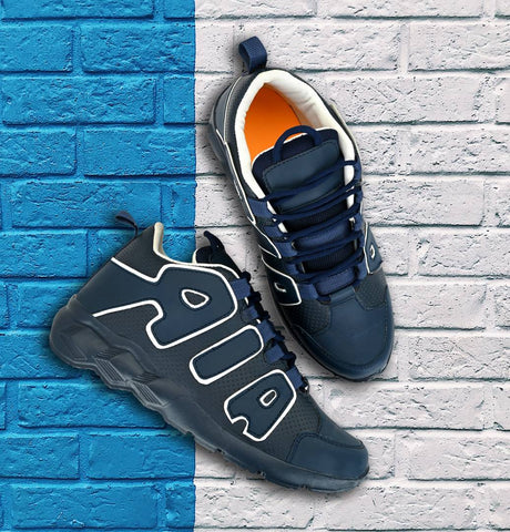 Men's Navy Blue PU Casual Sports Shoes