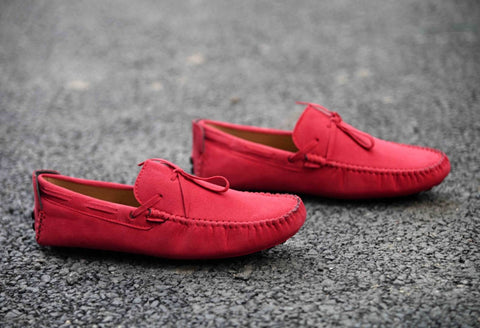 Men's Red Suede Solid Loafers