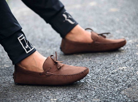 Men's Brown Suede Solid Loafers