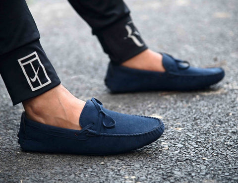 Men's Navy Blue Suede Solid Loafers