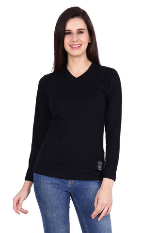 Reliable Black Solid Cotton Regular Fit Women's T-Shirt