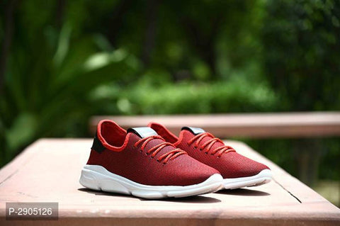 Elegant Red Solid Canvas Sports Shoes