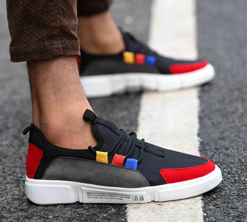 High Fashion Men's Multicolored Synthetic Suede Sports Sneakers