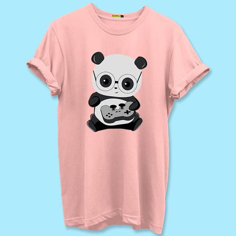 Men's Pink Cotton Printed Round Neck Tees