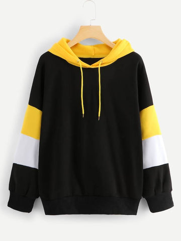 Black With Yellow And White Strip Sweat Shirt