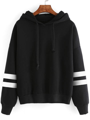 Black With White Strip Sweat Shirt