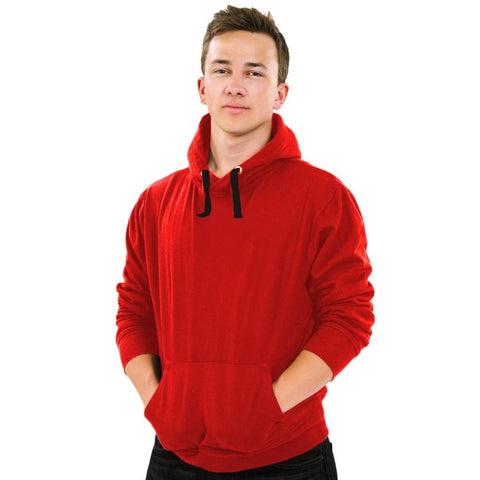 Men's Red Cotton Solid  Long Sleeves Hooded Pullover