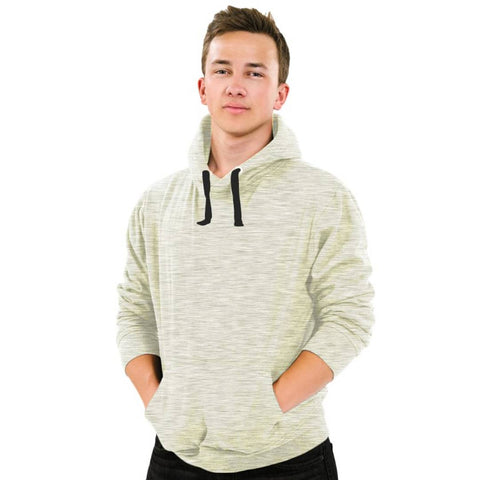 Men's Grey Cotton Solid  Long Sleeves Hooded Pullover