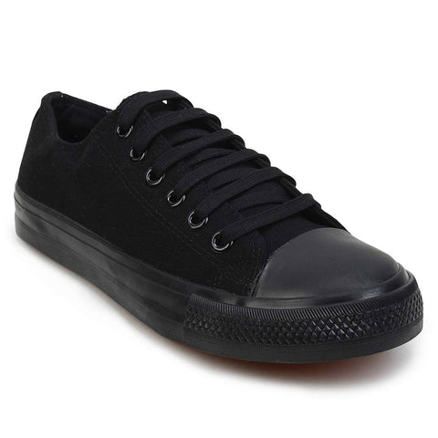 Men Black Lace Up Canvas Ultra Light Sneakers