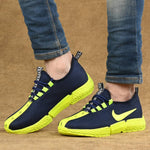 Men's Breathable Mesh Blue Neon Running Sport Shoes