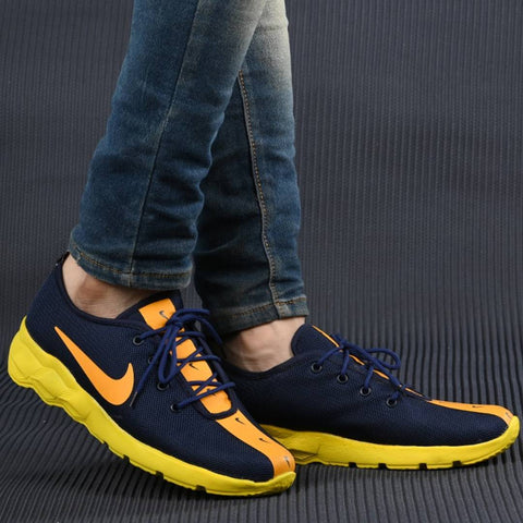 Men's Breathable Mesh Blue Yellow Running Sport Shoes