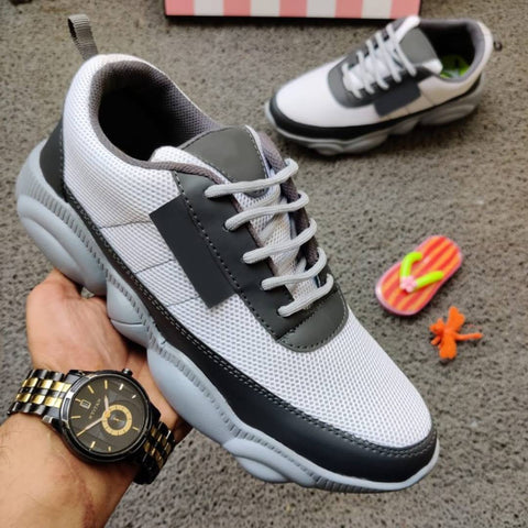 Ultra Lite Grey Mesh Sports Shoes For Men