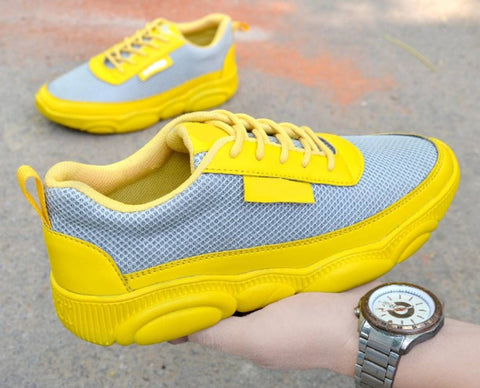 Men Yellow Self Design Mesh Outdoor & Hiking Sneaker Shoes