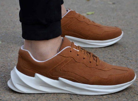 Ultra Lite Classy Tan Synthetic Sports Sneaker For Men