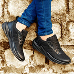 Black Synthetic Sport Sneakers Shoes For Men's