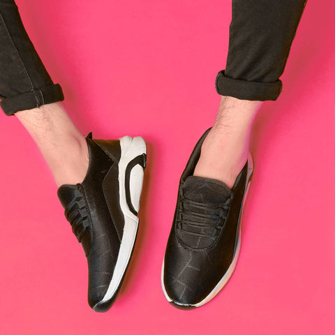 Men's Fabric Black Sneakers