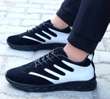 StyleRoad Black White Synthetic Stripped Sports Sneaker For Men
