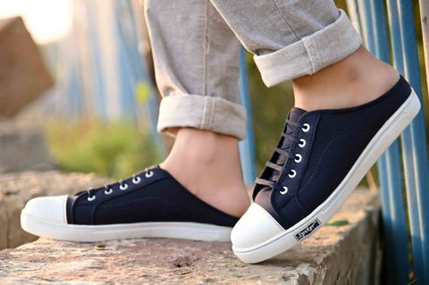 Men's Trendy Navy Blue Canvas Solid Slip-On Sneakers Shoes