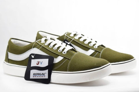 Men's Stylish Olive Canvas Sneakers