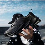 Men Black Fabric Solid Running Shoes