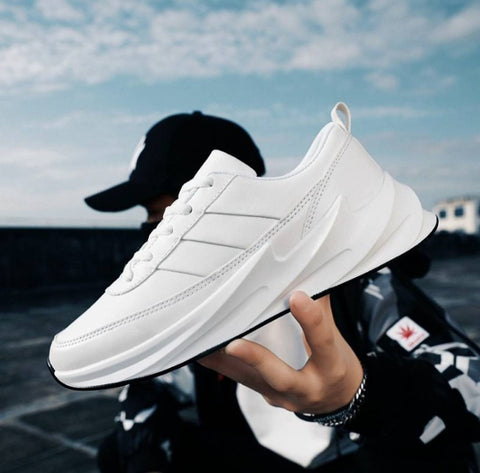 Men White Fabric Solid Running Shoes