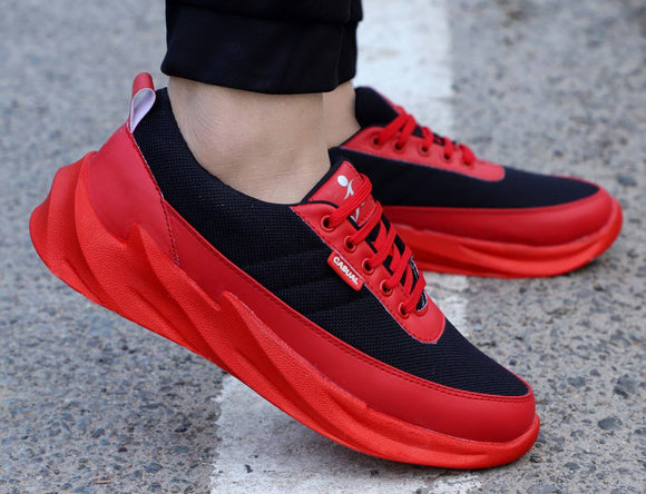 Elegant Lifestyle Red Mesh Solid  Sport Shoes For Men