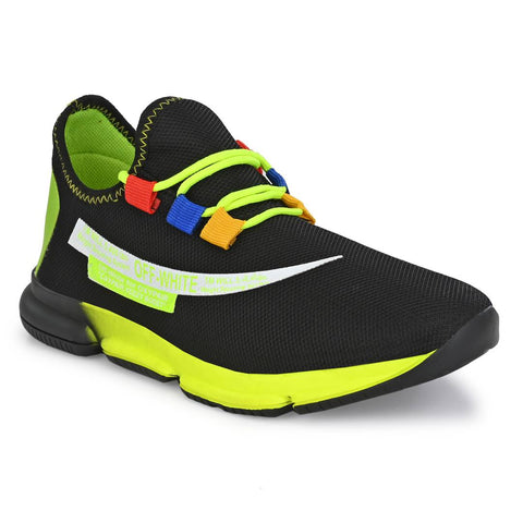Men's Stylish and Trendy Yellow Self Design Rubber Casual Sports Shoes