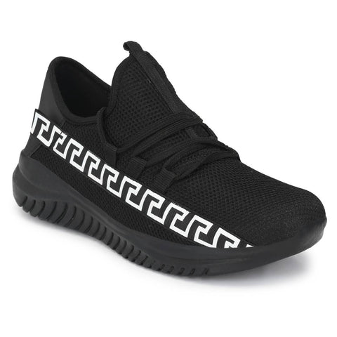 Men's Stylish and Trendy Black Printed Mesh Casual Sports Shoes